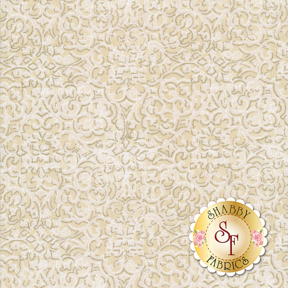 Cream intricate floral design with metallic details | Shabby Fabrics