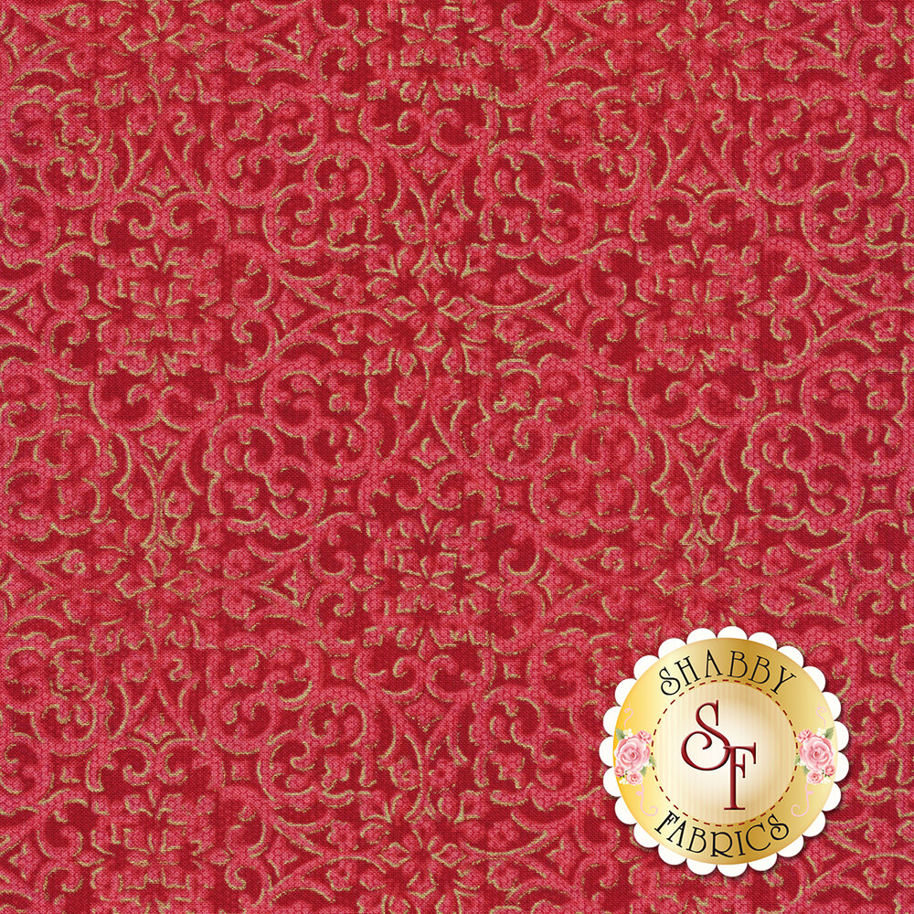 Crimson intricate floral design with metallic details | Shabby Fabrics