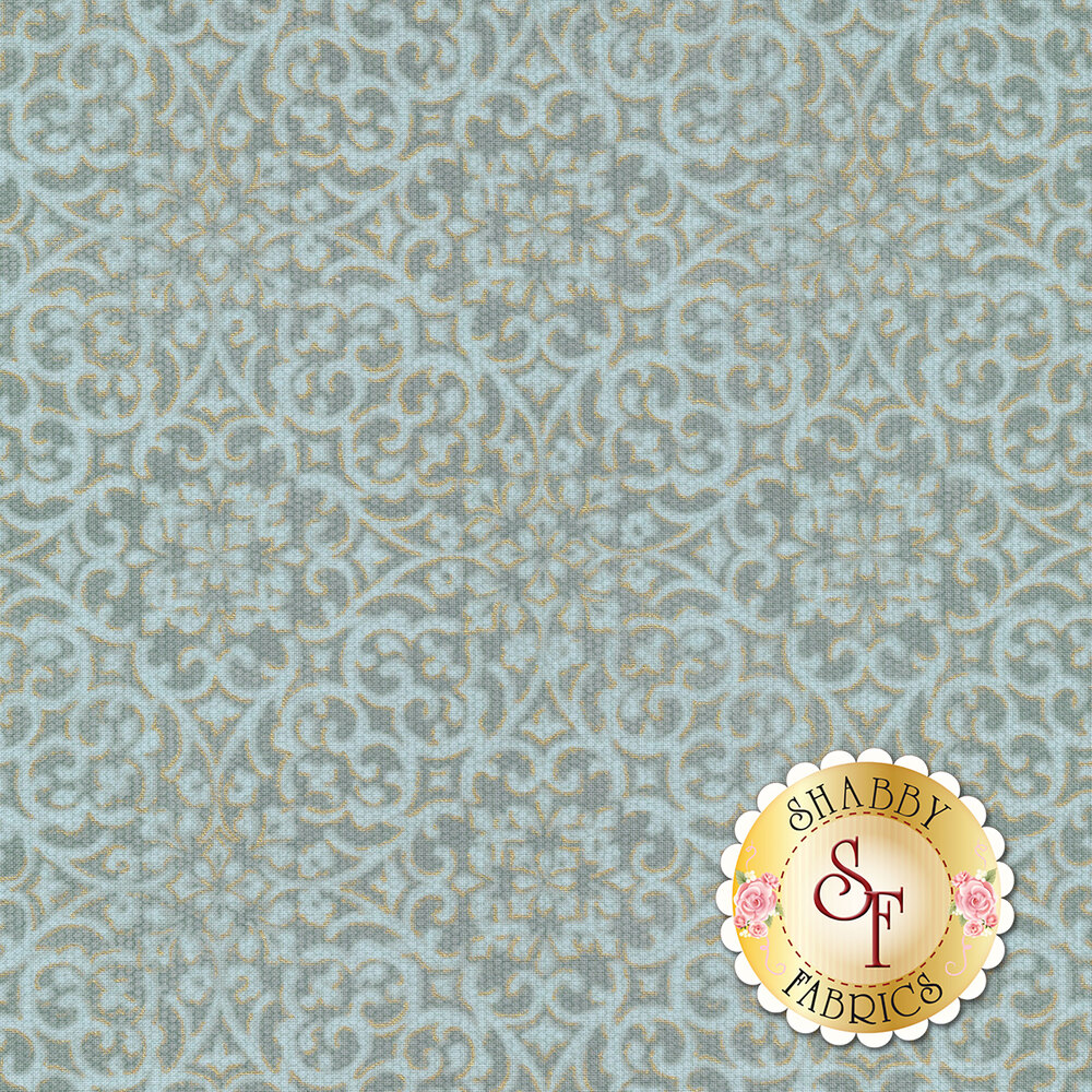 Teal intricate floral design with metallic details | Shabby Fabrics
