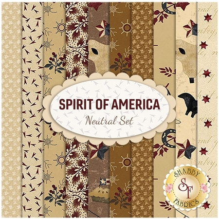 Spirit Of America  10 FQ Set - Neutral Set by Stacy West for Henry Glass Fabrics