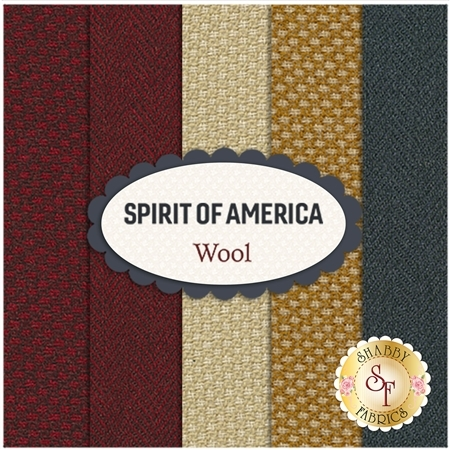 Spirit Of America  Wool  5 FQ Set by Stacy West for Henry Glass Fabrics