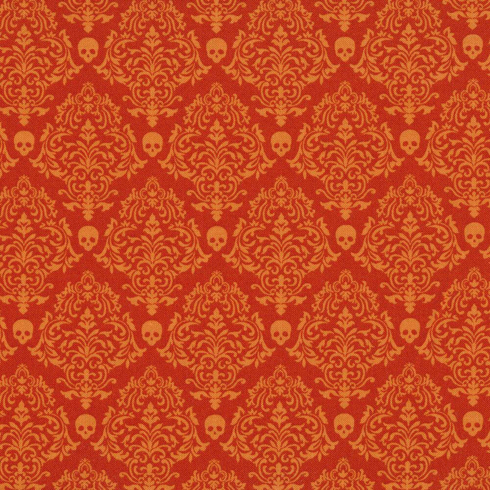 Tonal orange damask with skulls | Shabby Fabrics