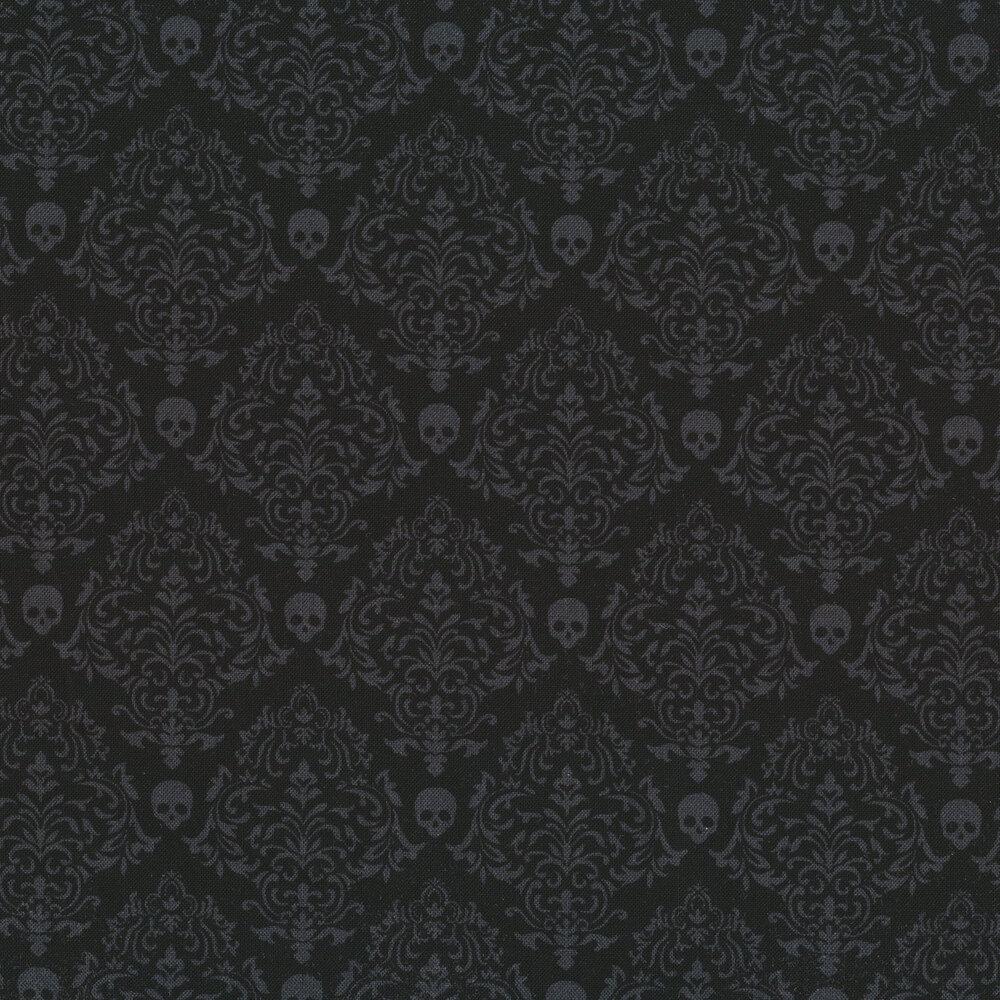 Tonal black damask with skulls | Shabby Fabrics