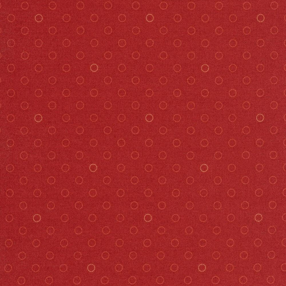 A basic red polka dot fabric with tonal rings | Shabby Fabrics