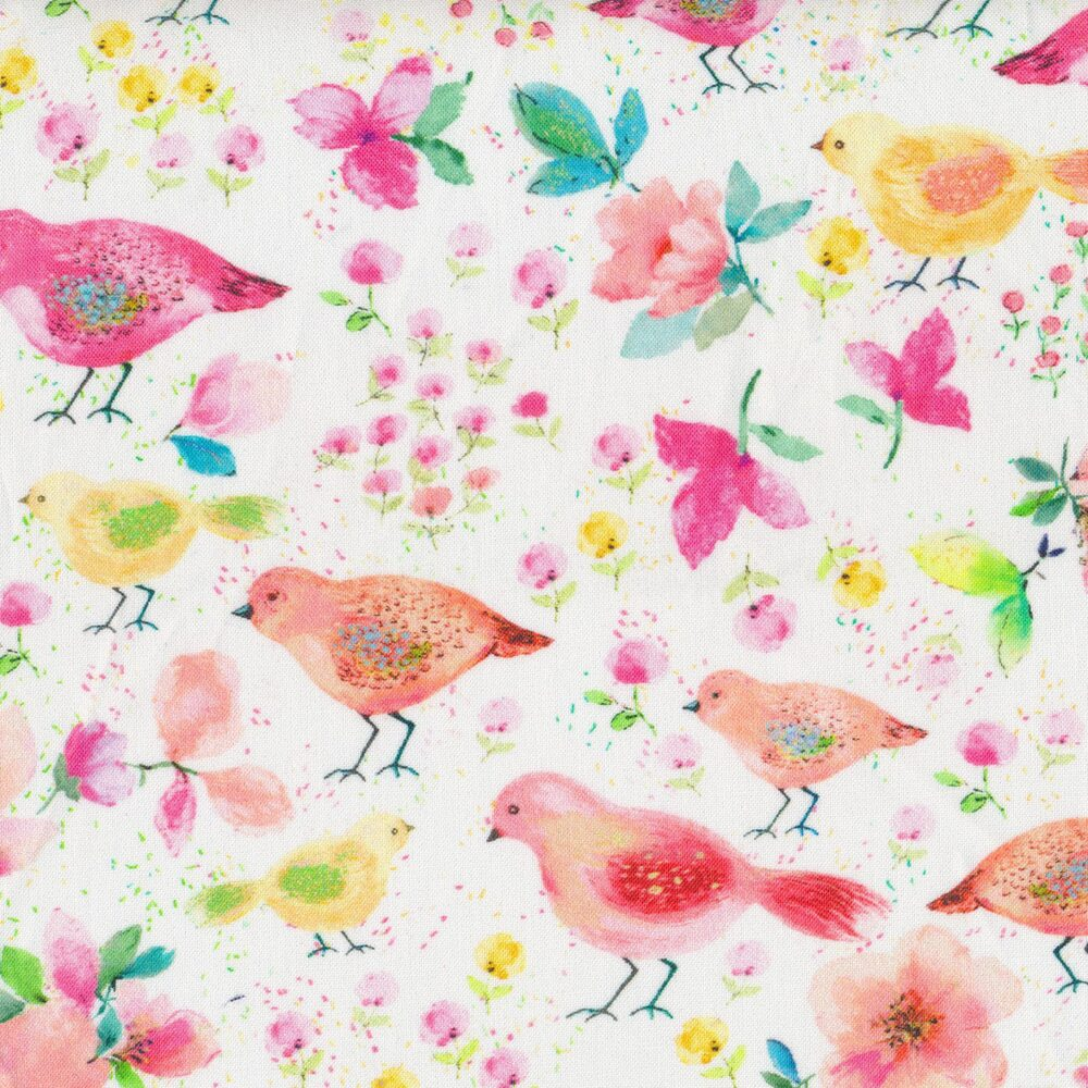 Watercolor birds and flowers on a white background