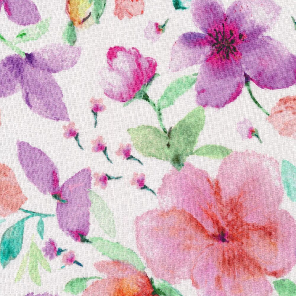 Tossed watercolor flowers on a white background