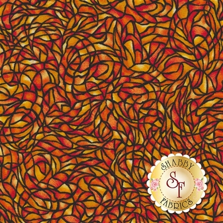 Stained Glass & Ruffles 4311-28 Orange by Paula Nadelstern for Benartex