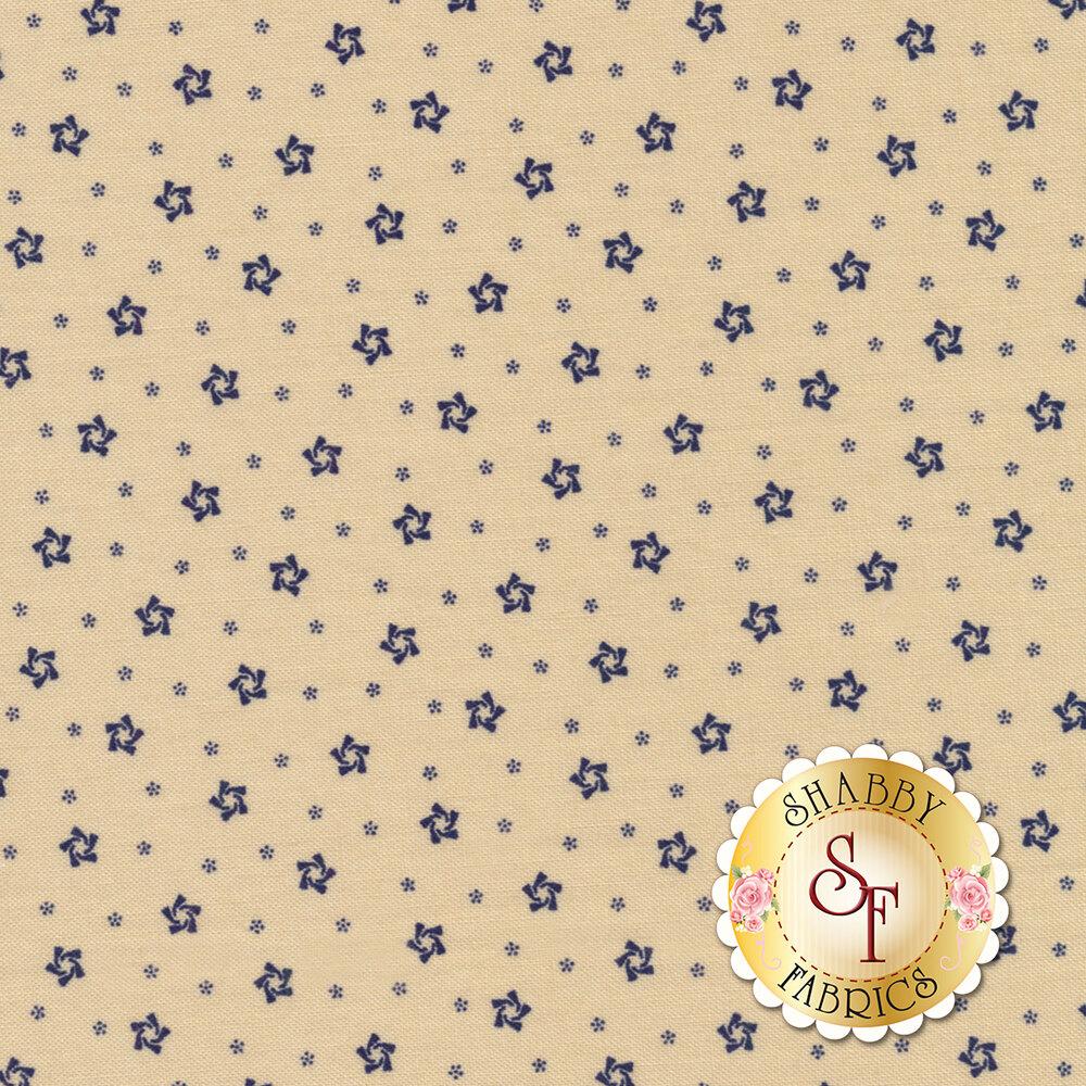 Star & Stripe Gatherings 1264-14 Blue Swirls Tan for Moda Fabrics