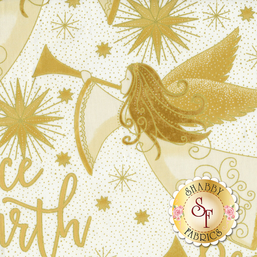 Gold angels and words on a cream background | Shabby Fabrics