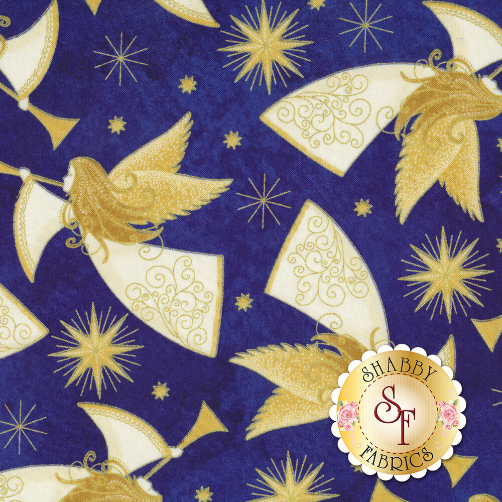 Gold angels all over a blue background | Shabby Fabrics