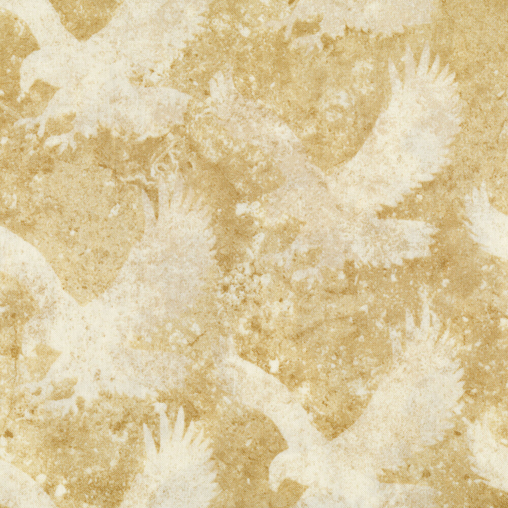 Mottled tan and cream fabric with eagles