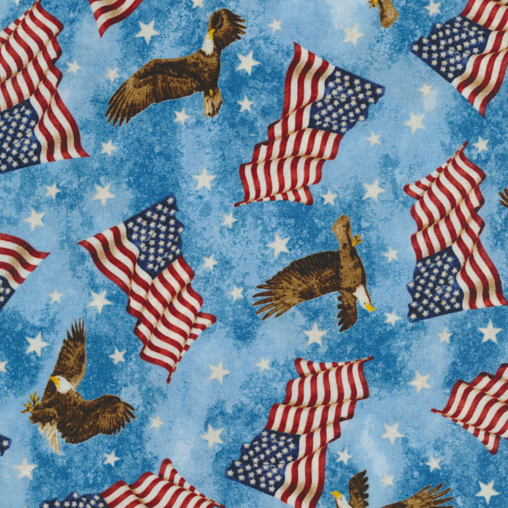Tossed American flags and eagles on a blue mottled background | Shabby Fabrics