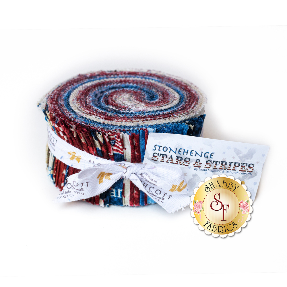 "A roll containing the 2-1/2"" Strips of fabric in the Stonehenge Stars & Stripes Collection"