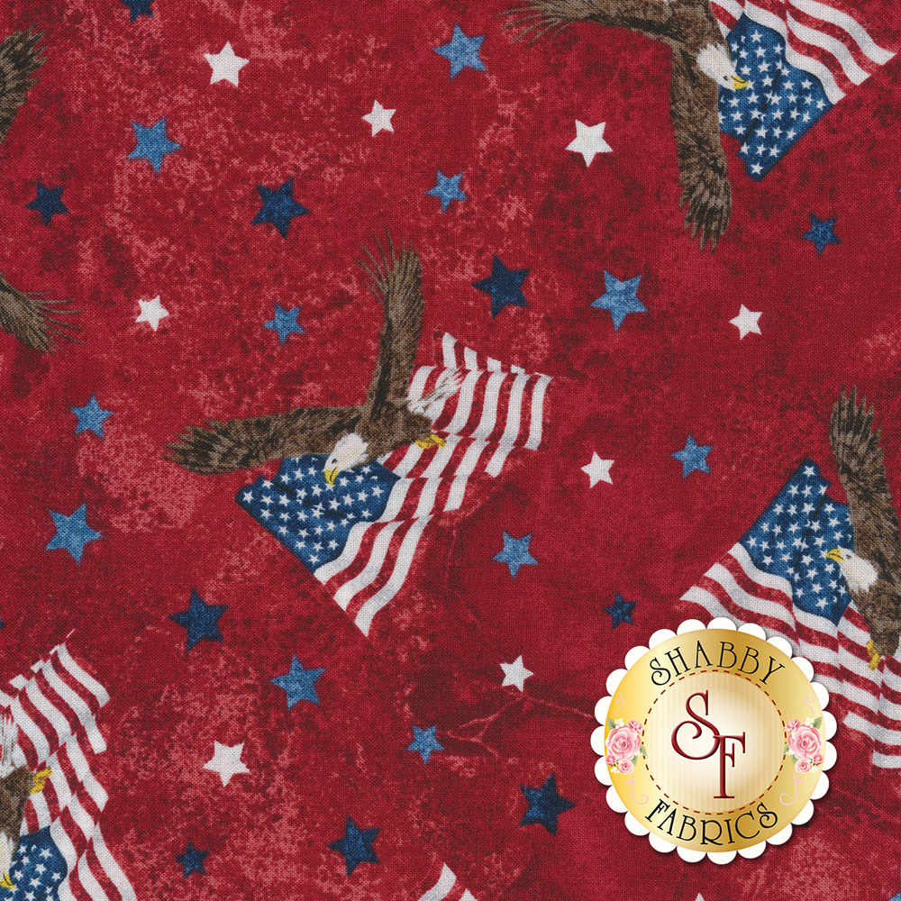Eagles on American flags and small blue and cream stars tossed on red | Shabby Fabrics
