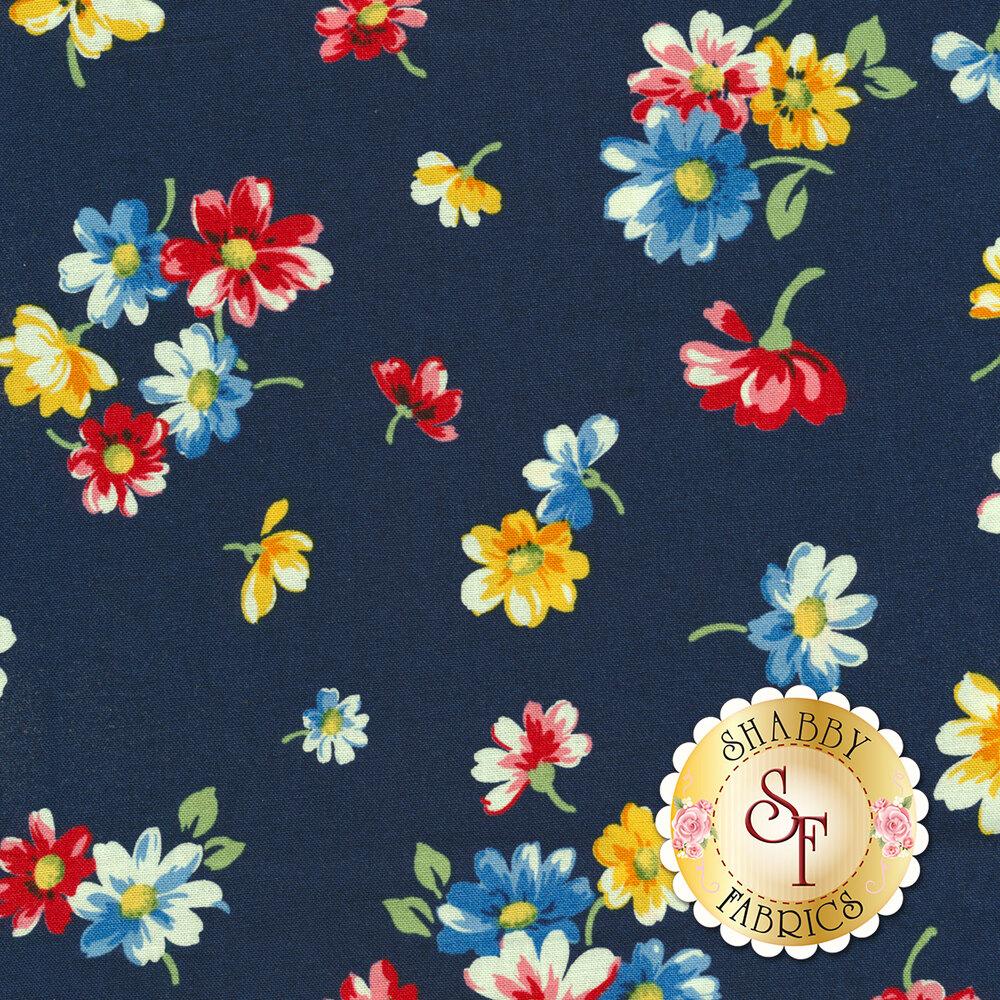 Small flowers tossed on blue | Shabby Fabrics