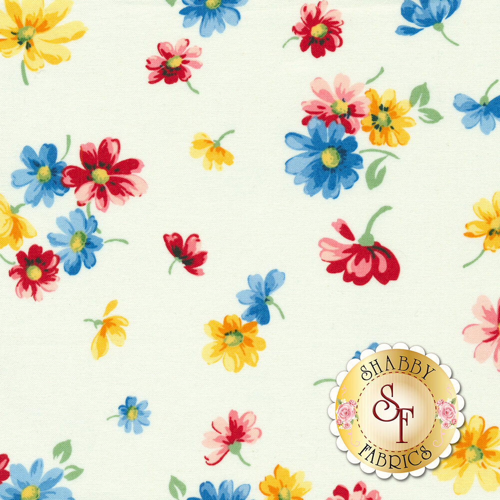 Small flowers tossed on white | Shabby Fabrics