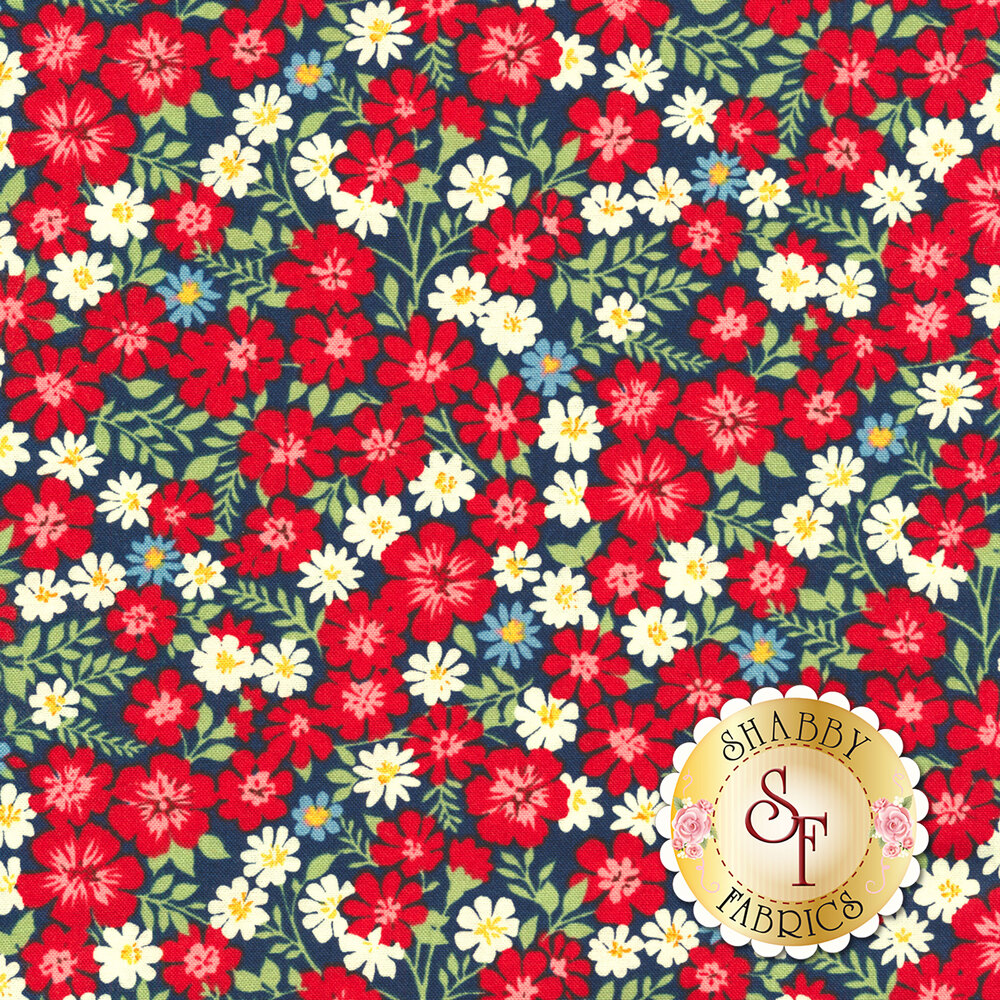 Packed red, white, and blue flowers all over blue | Shabby Fabrics