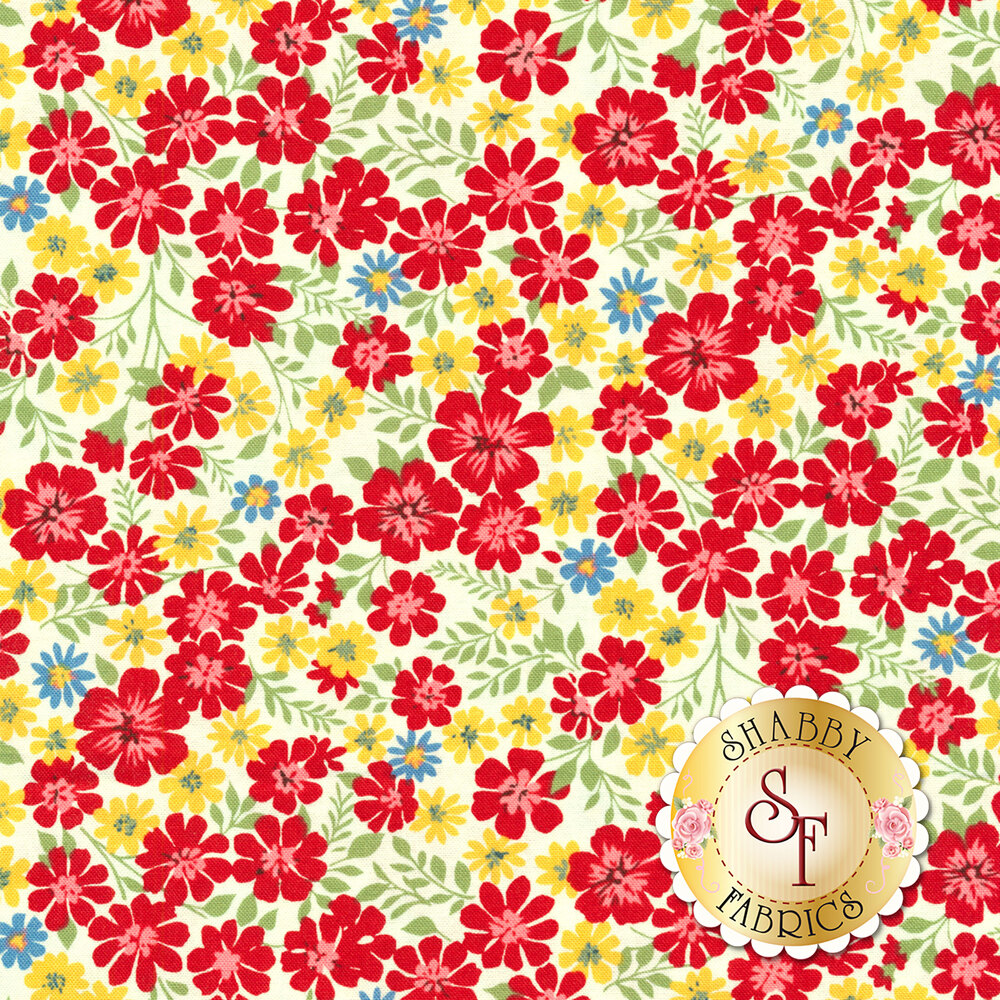 Packed red, white, and blue flowers all over white | Shabby Fabrics