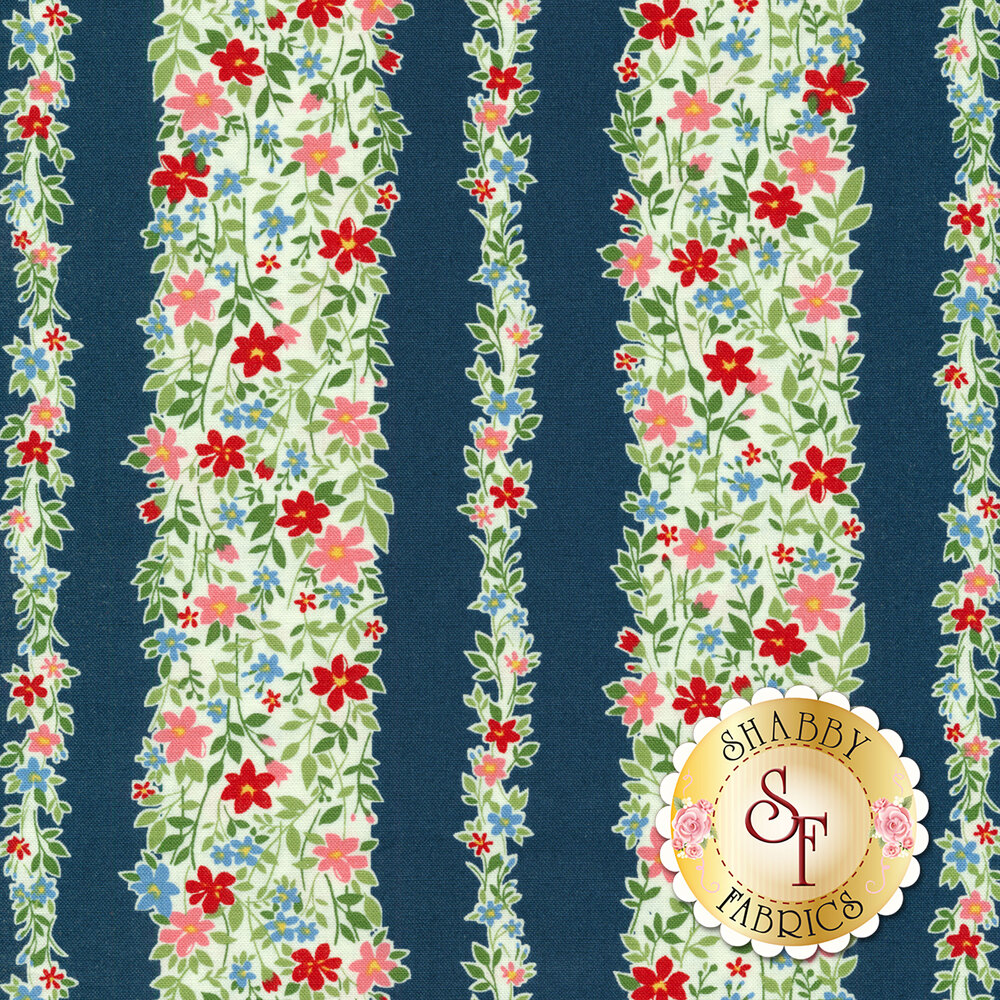 Floral stripe on blue | Shabby Fabrics