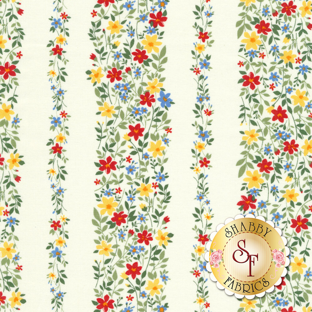 Colorful floral stripe on white | Shabby Fabrics