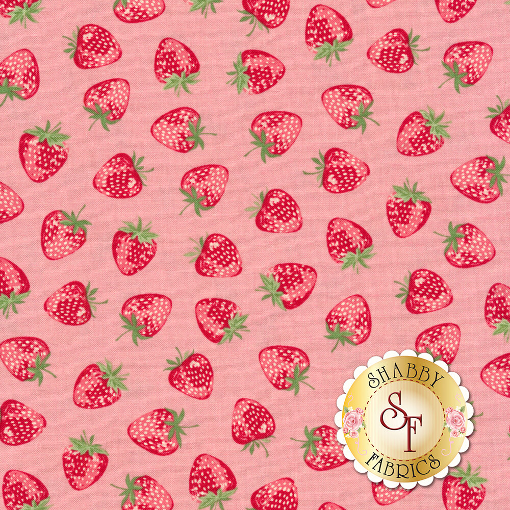 Red strawberries tossed on pink | Shabby Fabrics