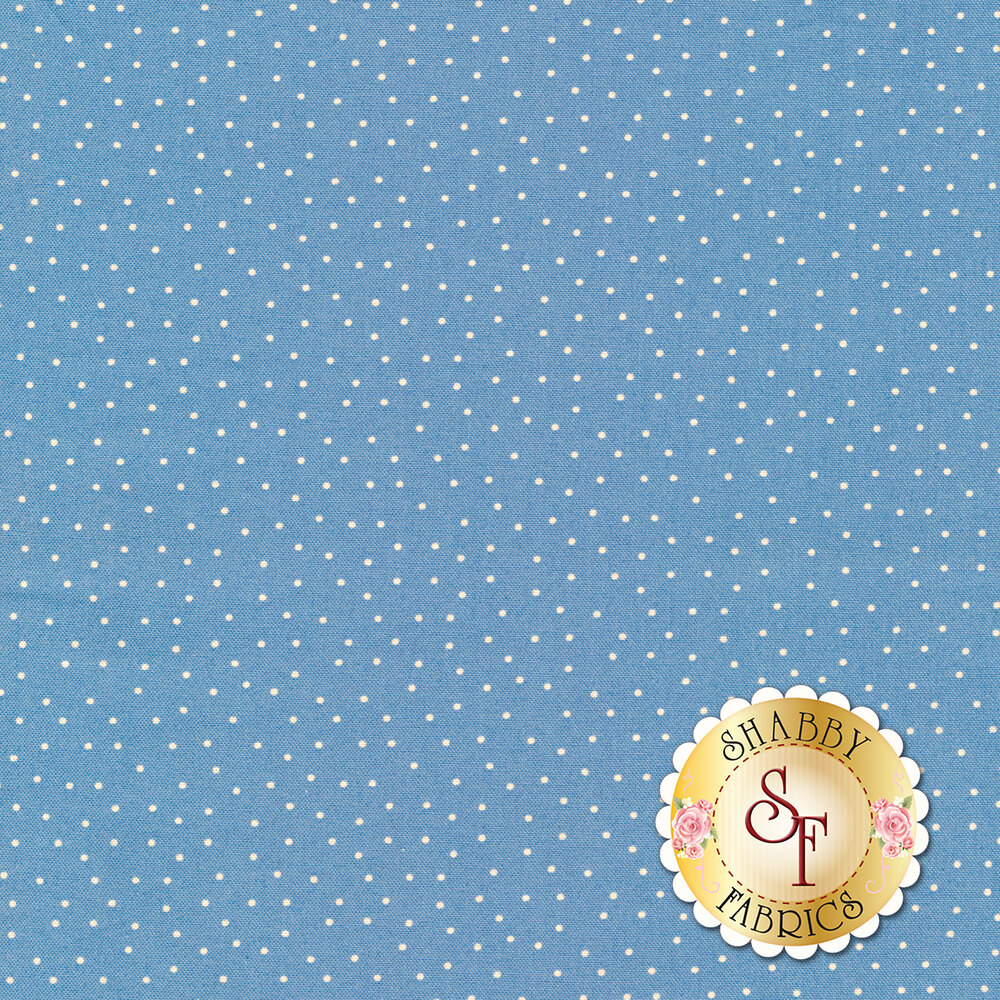 Small white dots scattered on blue   Shabby Fabrics
