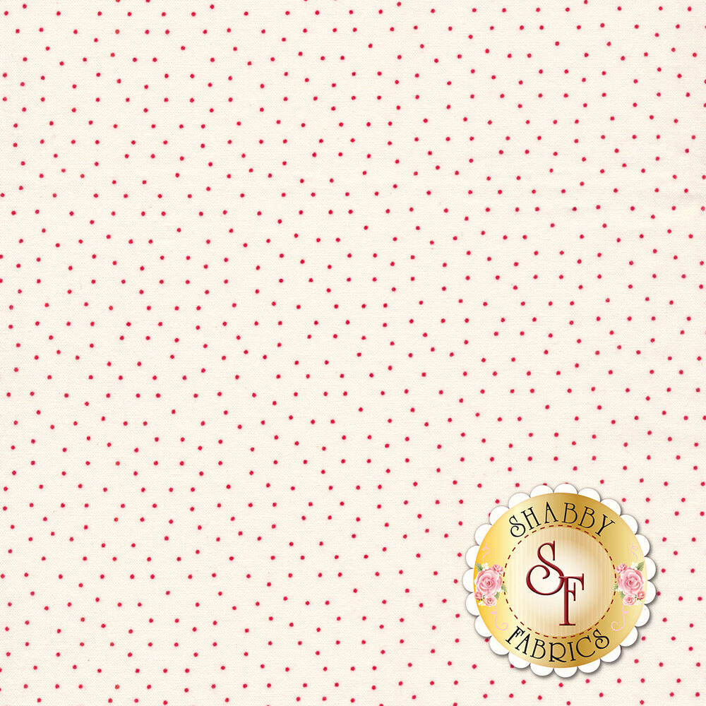Small red dots scattered on white | Shabby Fabrics