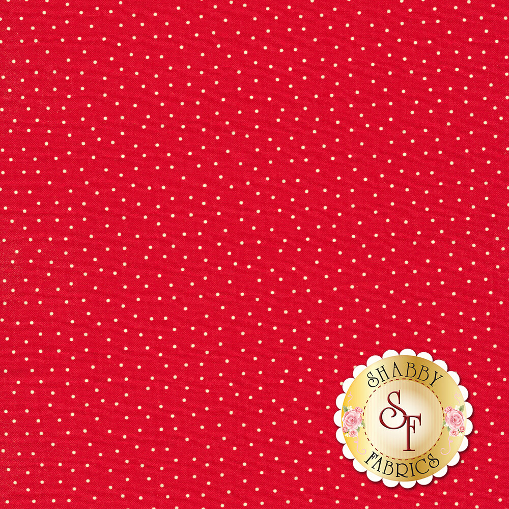 Small white dots scattered on red | Shabby Fabrics