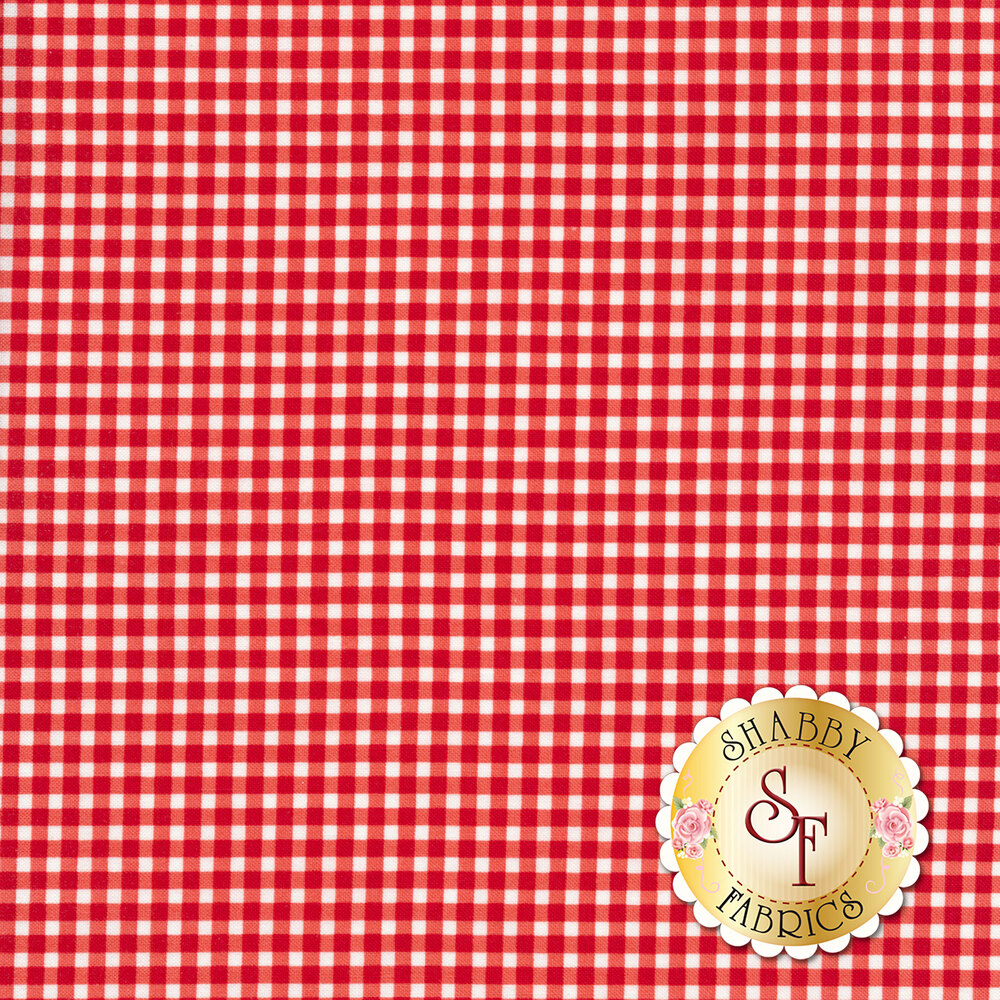 A classic red and white gingham fabric | Shabby Fabrics