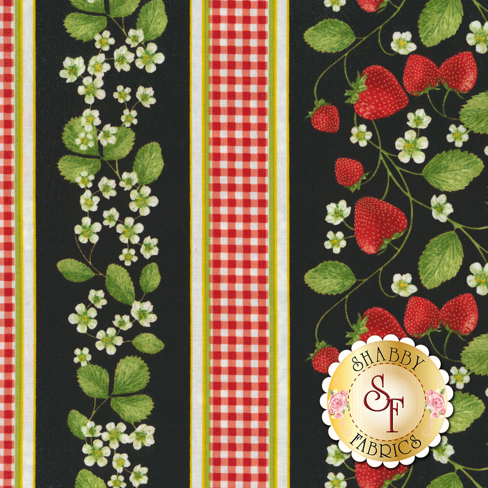 A border stripe with gingham plaid, flowers, and strawberries on a black background