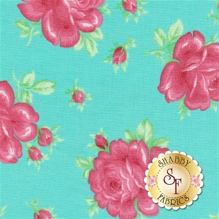 Sugar Bloom PWVM160-AQU by Verna Mosquera for Free Spirit Fabrics