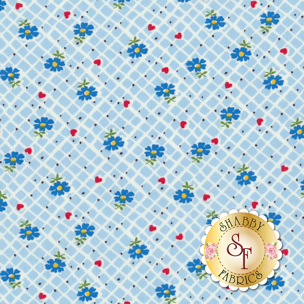 Sugar Sack 50431-2 Blue Floral Check by Windham Fabrics