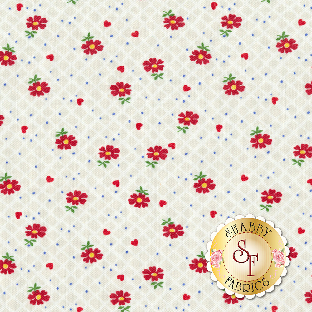 Sugar Sack 50431-4 Pearl Floral Check by Windham Fabrics