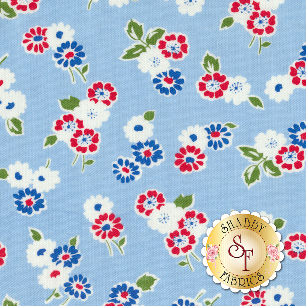 Sugar Sack 50435-2 Blue Tossed Floral by Windham Fabrics
