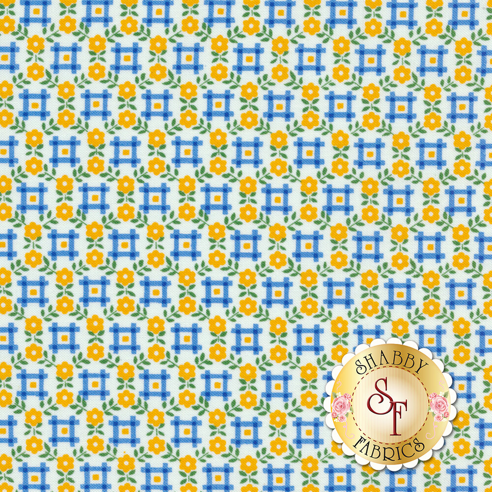 Sugar Sack 50436-3 Yellow Floral Gingham by Windham Fabrics REM