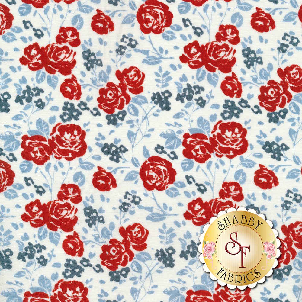 Red roses and blue flowers all over white | Shabby Fabrics