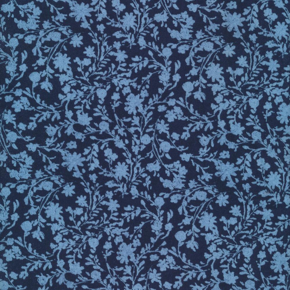 Tonal flowers all over blue   Shabby Fabrics
