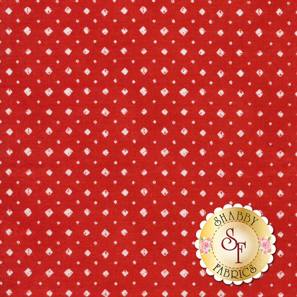 Small white diamonds all over red | Shabby Fabrics