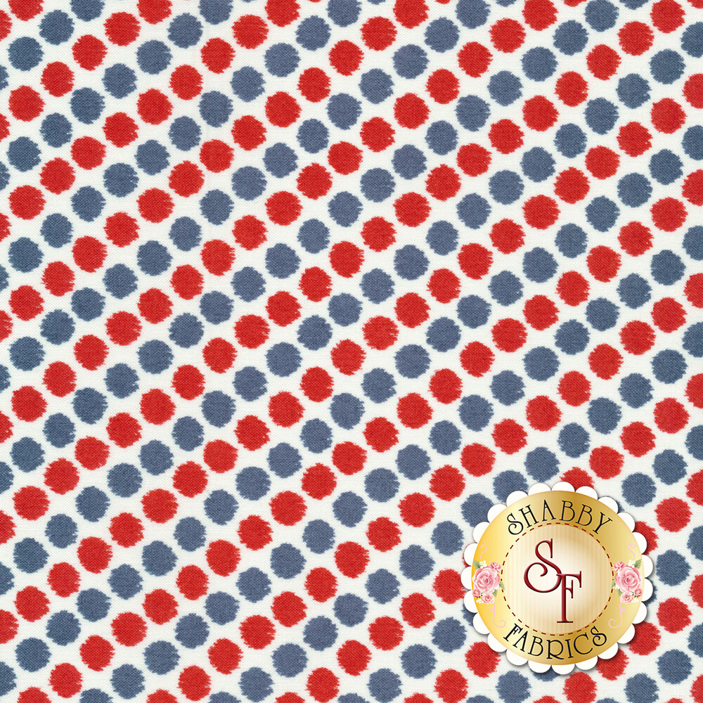 Red, white, and blue polka dots all over white | Shabby Fabrics