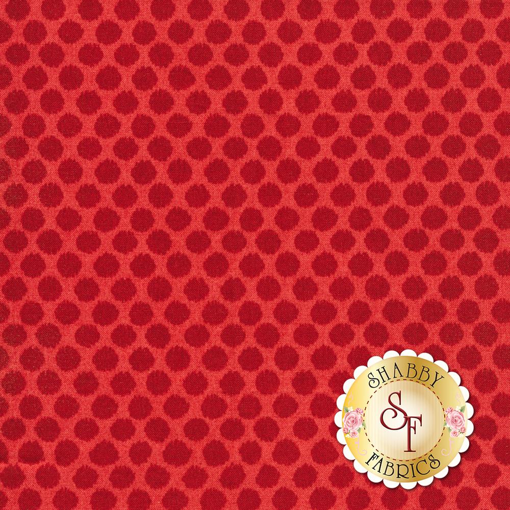 Tonal polka dots all over red | Shabby Fabrics