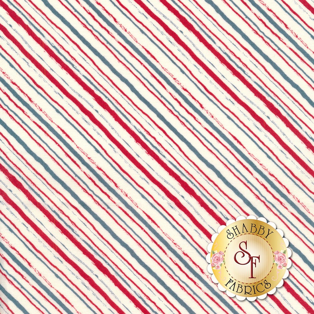 Red, white, and blue diagonal stripe fabric | Shabby Fabrics
