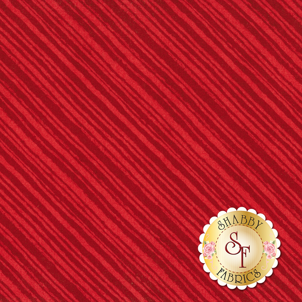 Tonal red diagonal stripe fabric | Shabby Fabrics
