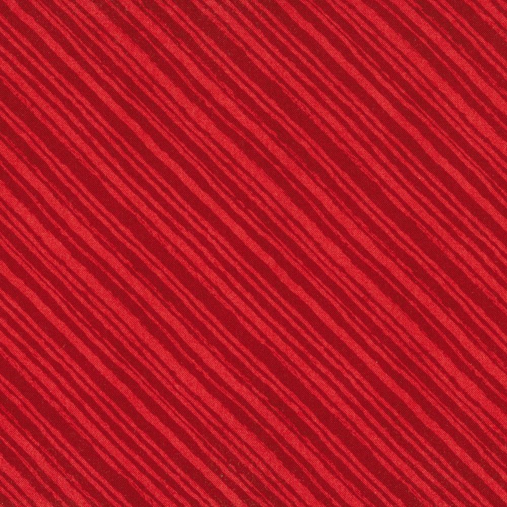 Tonal red diagonal stripe fabric   Shabby Fabrics
