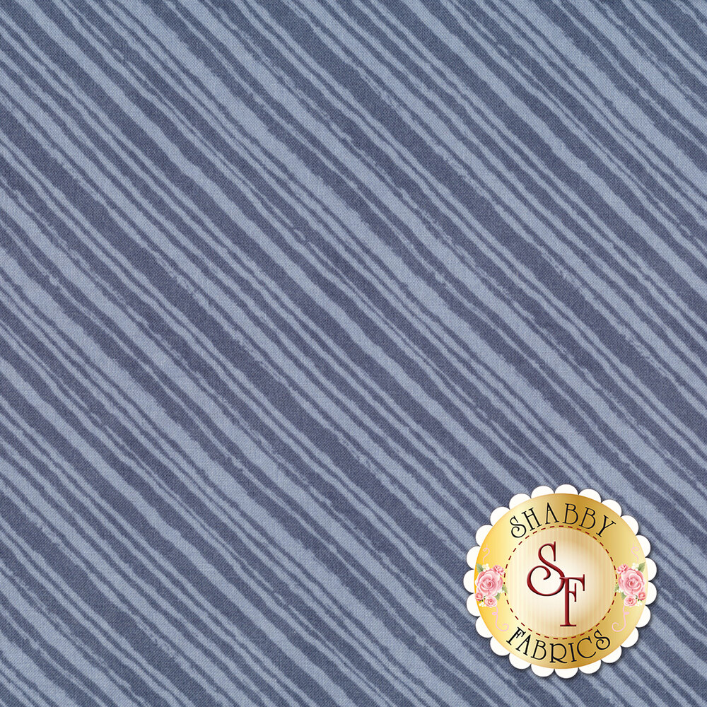 Tonal blue diagonal stripe fabric | Shabby Fabrics
