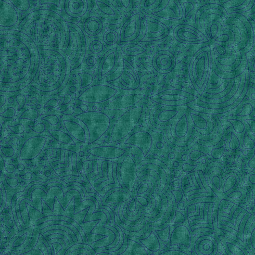 Stitch design featuring flowers on aqua | Shabby Fabrics