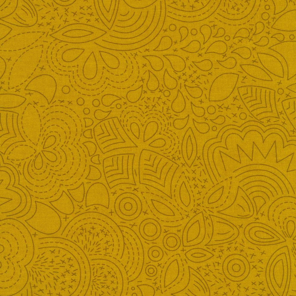 Stitch design featuring flowers on light green | Shabby Fabrics