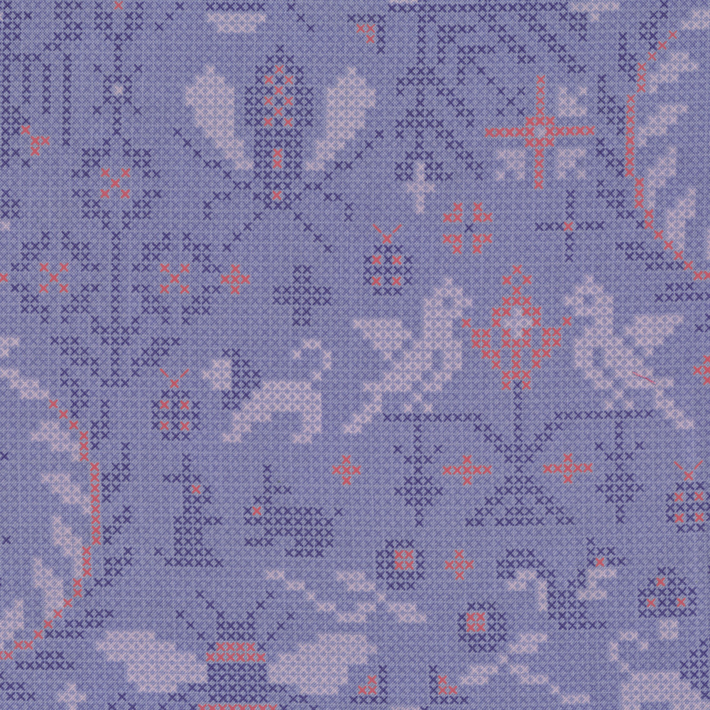 Needlepoint design featuring bugs, lions, and mushrooms on lilac | Shabby Fabrics