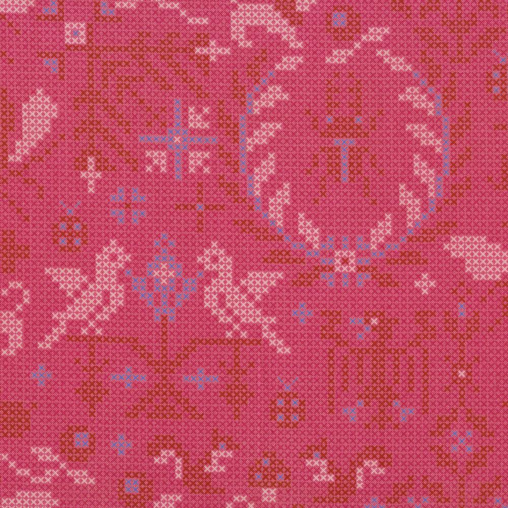 Needlepoint design featuring bugs, lions, and mushrooms on purple | Shabby Fabrics