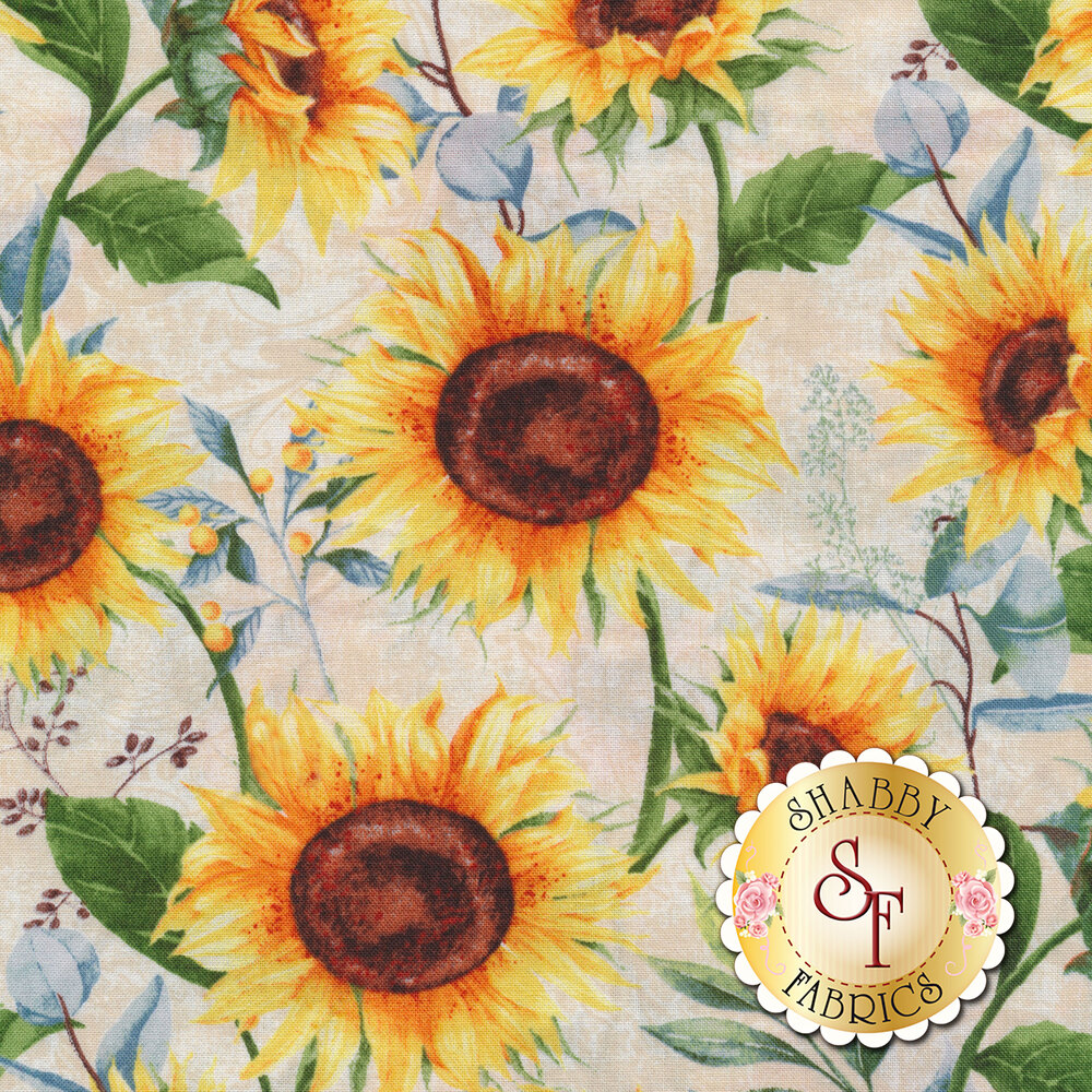 Large sunflowers all over a cream background | Shabby Fabrics