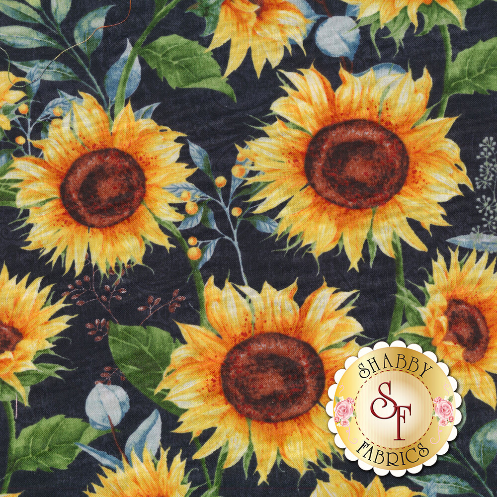 Large sunflowers all over a black background | Shabby Fabrics
